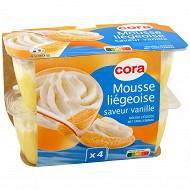 Cora mousse liégeoise dessert lacté saveur vanille 4x80g