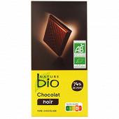 Nature bio  chocolat noir supérieur 74%  de cacao issu de l'agriculture biologique 100G