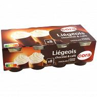 Cora liégeois dessert lacté au chocolat café et aromatisé 8x100g