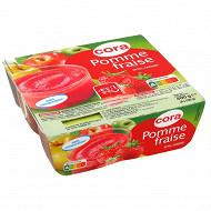 Cora dessert de fruits de pommes et de fraises 4x100g