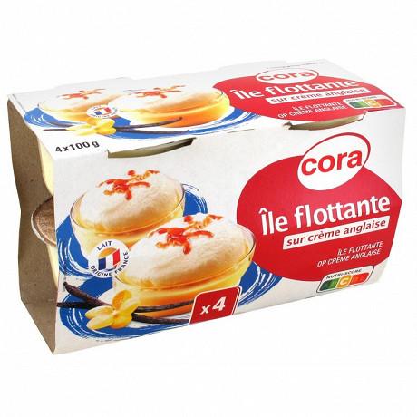 Cora ile flottante sur crème anglaise aux oeufs frais et au caramel 4x100g