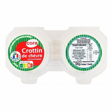 Cora crottin de chèvre au lait pasteurisé 2 x 60g 23%MG