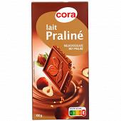 Cora chocolat supérieur au lait 48% fourré au praliné et aux éclats de noisettes caramélisés 150g