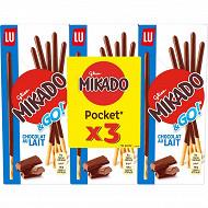 Mikado pocket chocolat lait lot de 3 117g