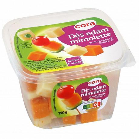 Cora dés de fromages duo édam et mimolette au lait pasteurisé 150g