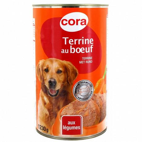 Cora terrine pour chien au boeuf et légumes 1230g