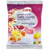Cora bonbons tendres sans sucres aux jus de fruits 150g