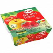 Cora compote de pomme fraise allégée en sucres 4 x 100g