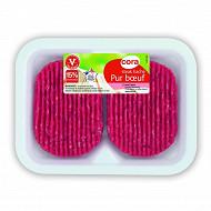 Cora steak haché pur boeuf 15% mg 2x125g