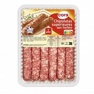 Cora saucisses pur porc aux herbes la barquette de 6 soit 330 g
