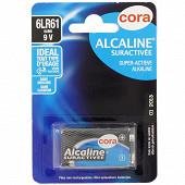 Cora pile alcaline 9 volts (6LR61) suractivée