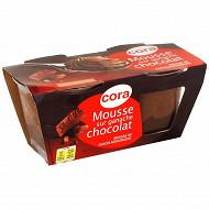 Cora dessert lacté mousse au chocolat sur ganache chocolat 2X88G