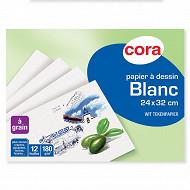 Cora pochette dessin papier à grain blanc 24 x 32 cm 12 feuilles