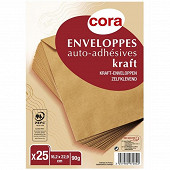 Cora 25 enveloppes kraft 90 g auto-adhésives 16.2x22.9 cm