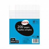 Cora feuilles simples blanches  perforée 17 x 22 cm 200 page seyes grands carreaux