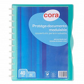 Cora protège documents à anneaux personnalisable  21 x 29.7 cm 40 vues polypropylène translucide