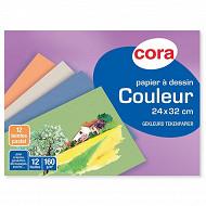 Cora pochette dessin 24 x 32 cm uni 12 feuilles à grain P.E.F.C. 160g  pastel