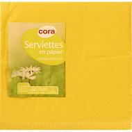 Cora serviettes x50 jaune passion 33x33cm 2 plis