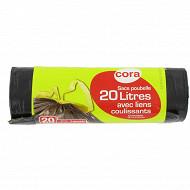 Cora sacs poubelle x20 liens coulissants 20 litres
