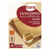 Cora 5 pochettes à soufflets auto adhésives 229x324 120 grammes pefc