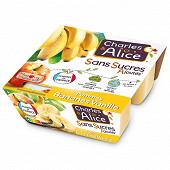 Charles & Alice spécialité de pommes bananes vanille 4x97g sans sucres ajoutés