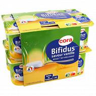Cora lait fermenté au lait entier au bifidus et saveur vanille 12x125g