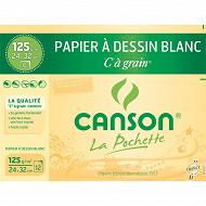 Canson - Pochette de 12 feuilles à grain 24x32 cm blanc 125 grammes