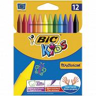 Bic 12 craies rondes platstidécor étui carton couleurs assorties