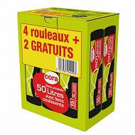 Cora sacs poubelle 6x15 50l liens coulissants lot 4 + 2 offerts