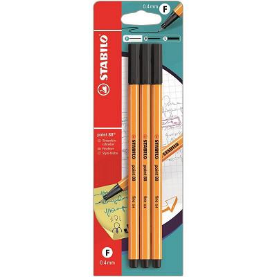 Stabilo Stabilo 3 stylos feutres point 88 noir pointe fine