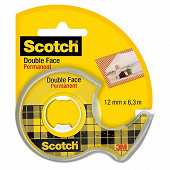 Scotch ruban adhésif double face 6 mètresx12 mm rouleau dévidoir
