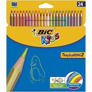 Bic 24 crayons de couleur tropicolors étui carton