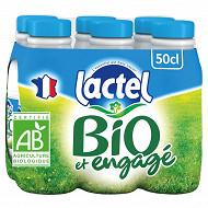Lactel lait bio bouteille demi écrémé 6x50cl