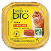 Nature Bio barquette chat volaille petits pois carottes 100g