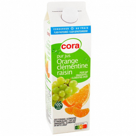 Cora pur jus orange clémentine raisin 100% fruit pressé 1l