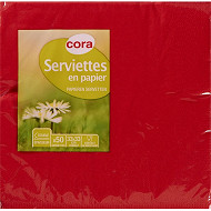 Cora serviettes x50 rouge 33x33cm 2 plis
