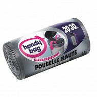 Handy bag sacs poubelle x15 fixation élastique special poubelle haute 20/30l