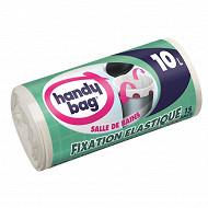 Handy Bag sacs poubelle x15 fixation élastique 10l salle de bain