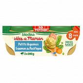 Blédina les idées de maman bols 2x200g petits légumes saumon du pacifique dès 8 mois