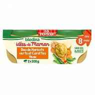 Blédina les idées de maman 2x200g haricots verts carottes veau à la crème dès 8 mois