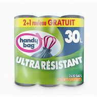 Handy bag sacs poubelles x3 poignées coulissantes 30L dont 1 offert