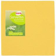 Cora serviettes x40 jaune passion 38x38cm toucher textile 2 plis