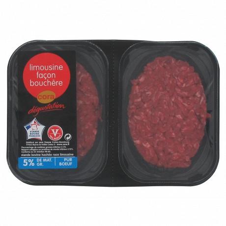 Cora dégustation steak haché limousine façon bouchère 5% mg 2x125g