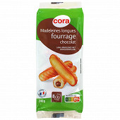 Cora madeleine longues fourrage chocolat 240g