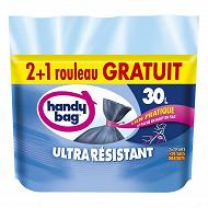 Handy bag sacs poubelles x20 ultra résistants 30L 2 + 1 offert