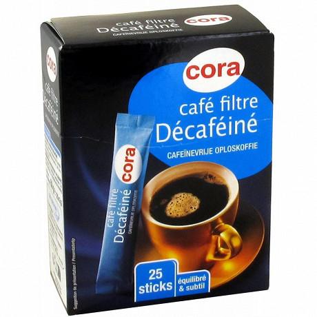Cora café filtre lyophilisé décaféiné 25 sticks x 2g