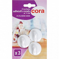 Cora 3 crochets adhésifs ronds diamètre 3cm