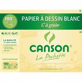 Canson - Pochette c à grain 12 feuilles 24x32 cm 180 grammes