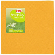 Cora serviettes x40 toucher textile safran 38x38cm 2 plis