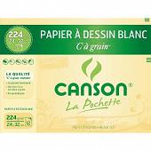 Canson - Pochette c à grain 12 feuilles 24x32 cm 224 grammes